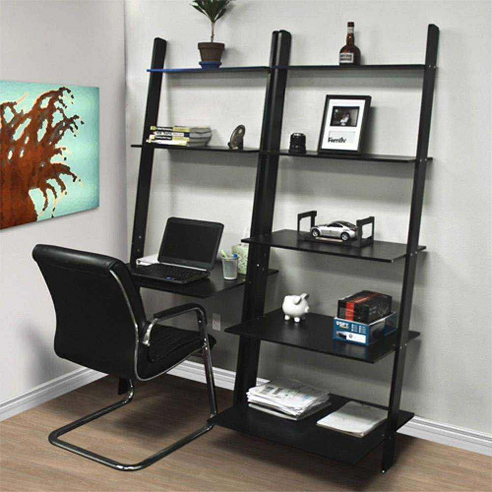 Leaning shelf bookcase with computer desk office furniture home desk