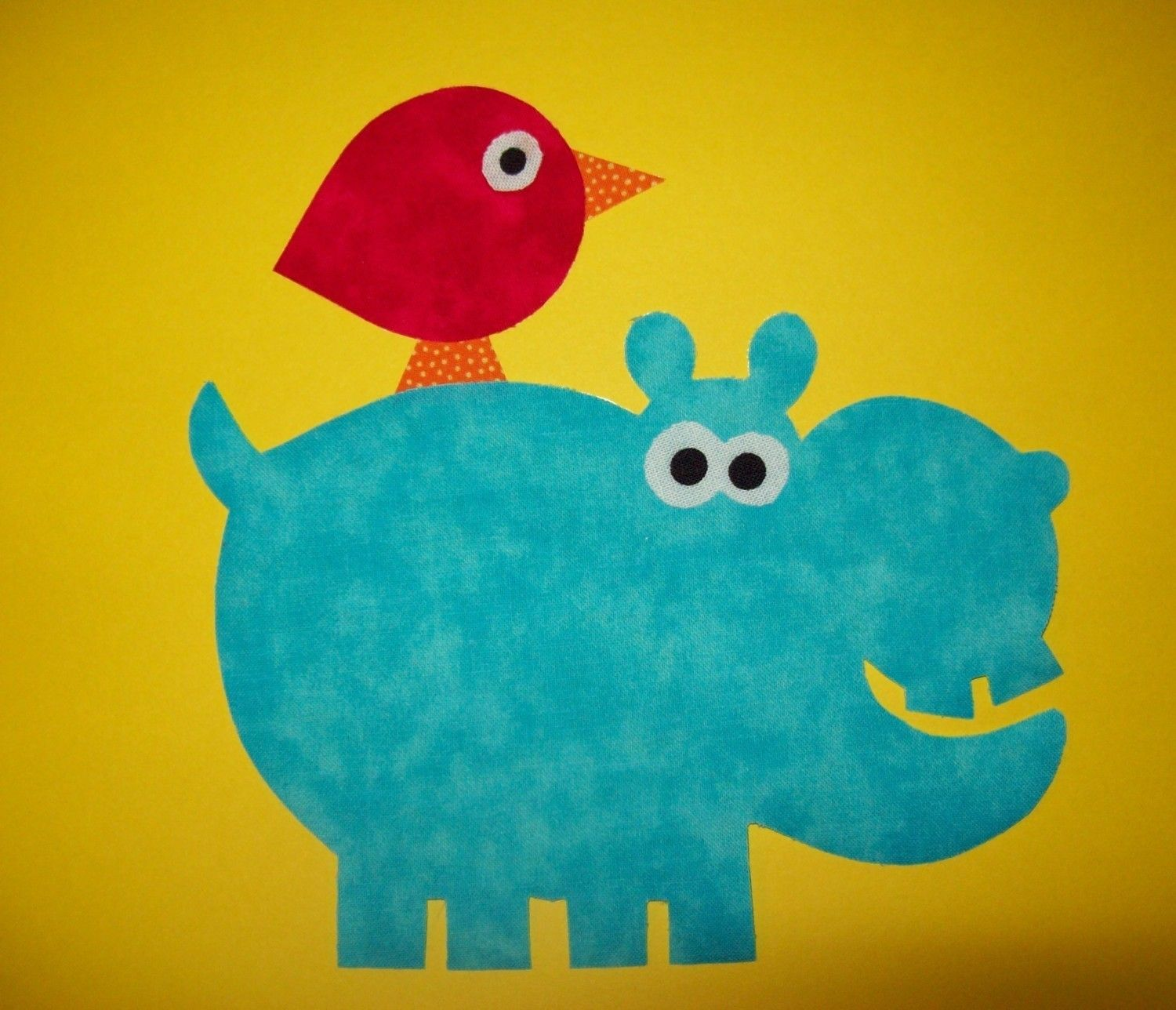 Fabric Applique TEMPLATE Pattern ONLY Hippo With Bird by etsykim ...