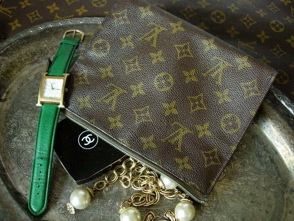 a724ac4cc07 RARE Vintage LOUIS VUITTON Clutch Cosmetic Pouch Bag Tote Purse Saks ...