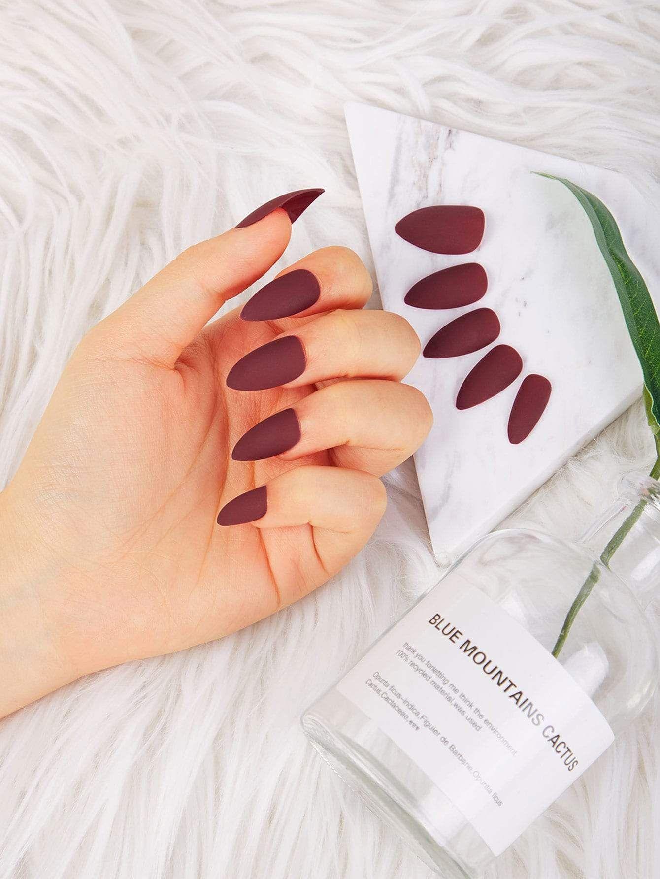 Scrub Fake Nails 24pcs Fake nails, False nails, Burgundy