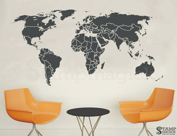 World map countires wall decal globe wall art world map wall world map wall decal countries border wall art sticker boundaries outline vinyl or chalkboard dry erase black white board gumiabroncs Gallery