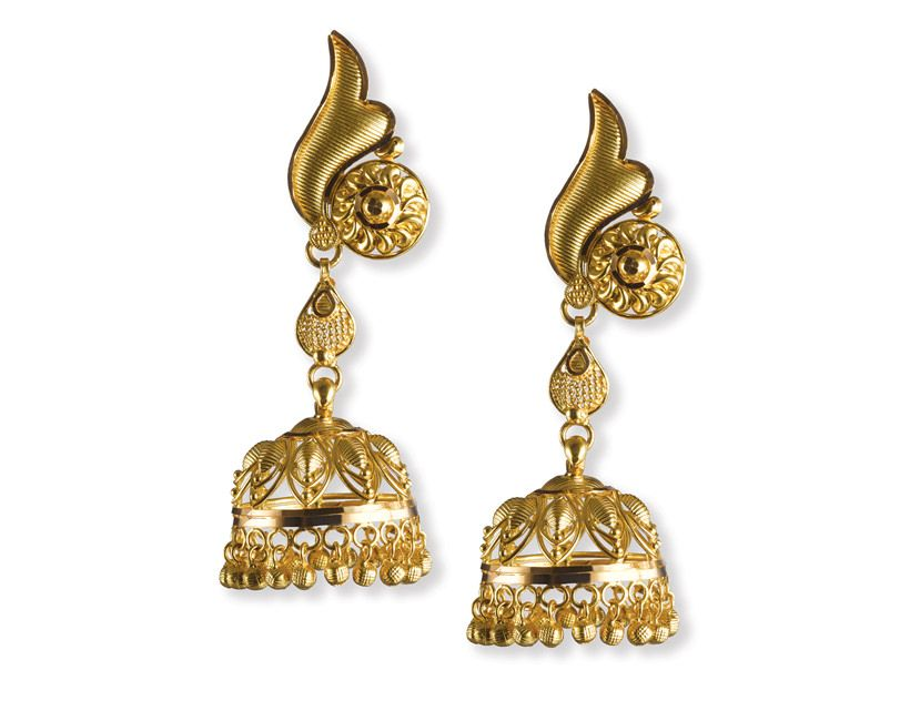 And these jhumkas by Tanishq to match the floral & leaf designed ...