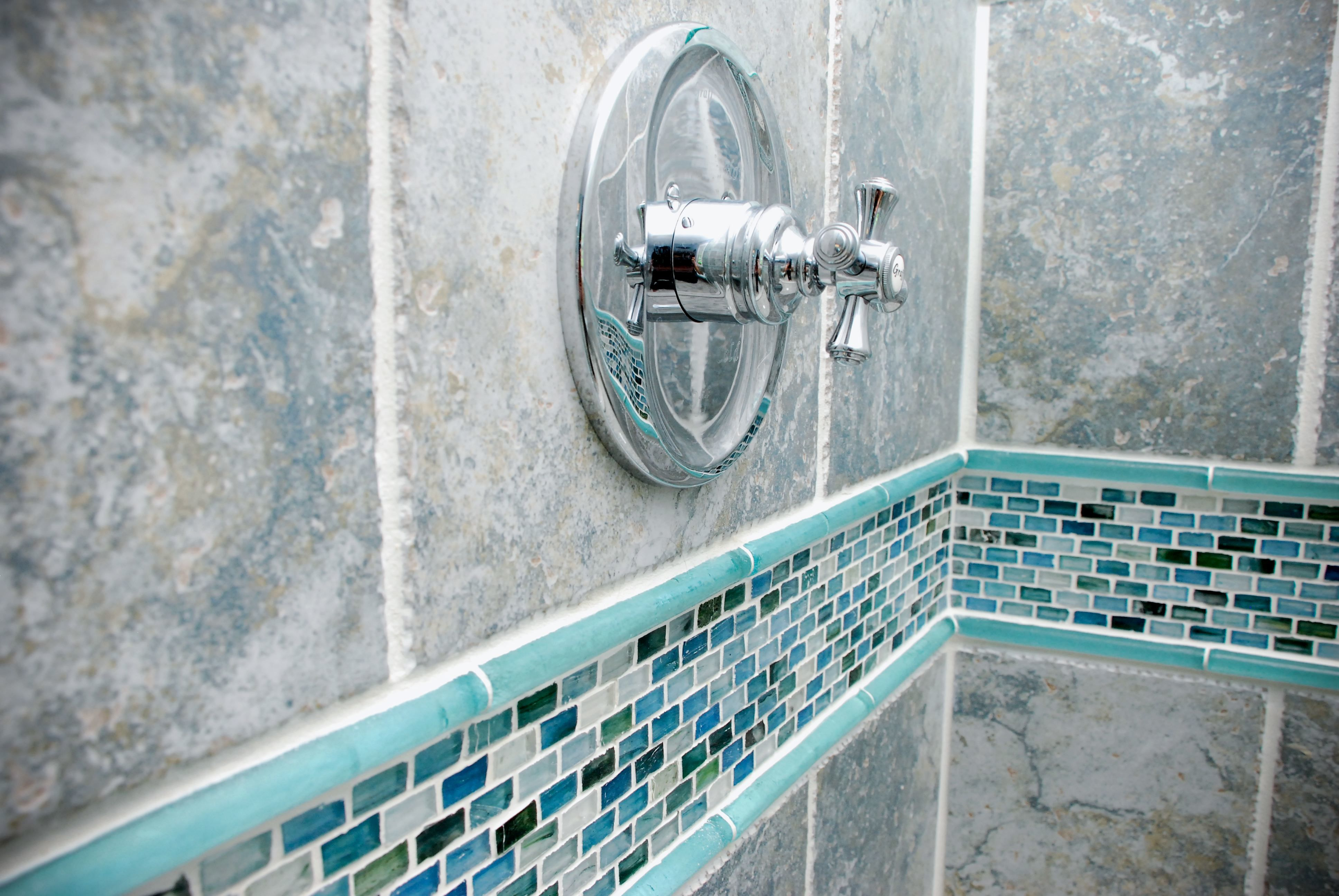 How beautiful are these Cayman Blue Silk tiles?! | Bathrooms We Love ...
