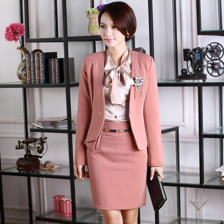 New Arrival 2014 Spring Fashion Women Skirt Suits Blazers Formal Ladies  Work Suits Elegant Pink Slim