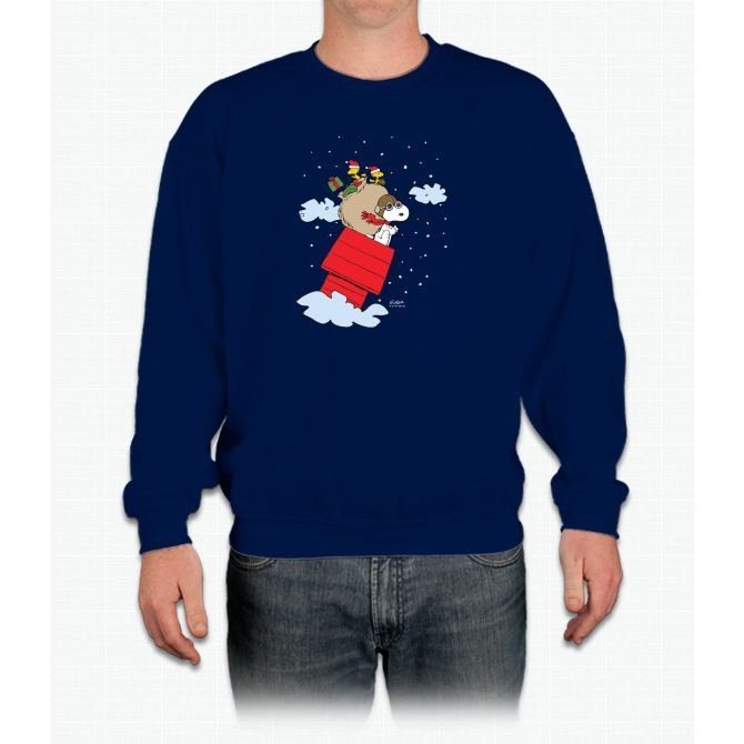 Flying Ace Santa Snoopy Crewneck Sweatshirt