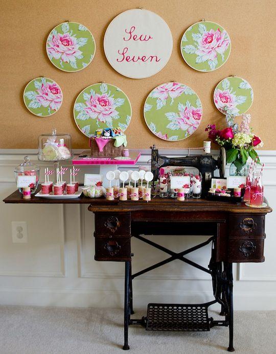 sweet dessert display on a vintage sewing machine table