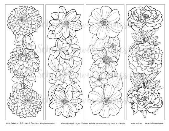 Instant Download Bookmark Coloring With Pretty Flower Design
