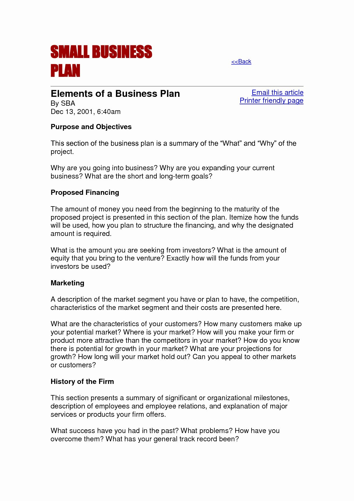 Small Business Plan Free Template In 2020 Business Proposal