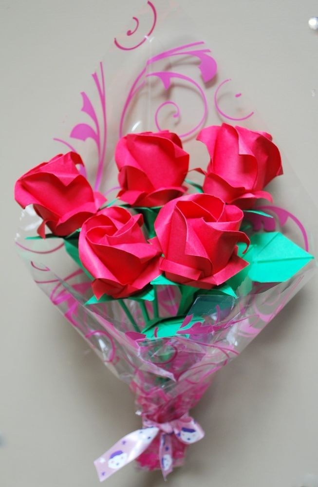 5 Origami paper roses flower bouquet Birthday Anniversary Valentine Wedding gift