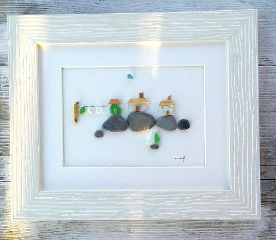 Pebble art beach homes, Beach homes, Wall art, Beach decor, Cottage ...