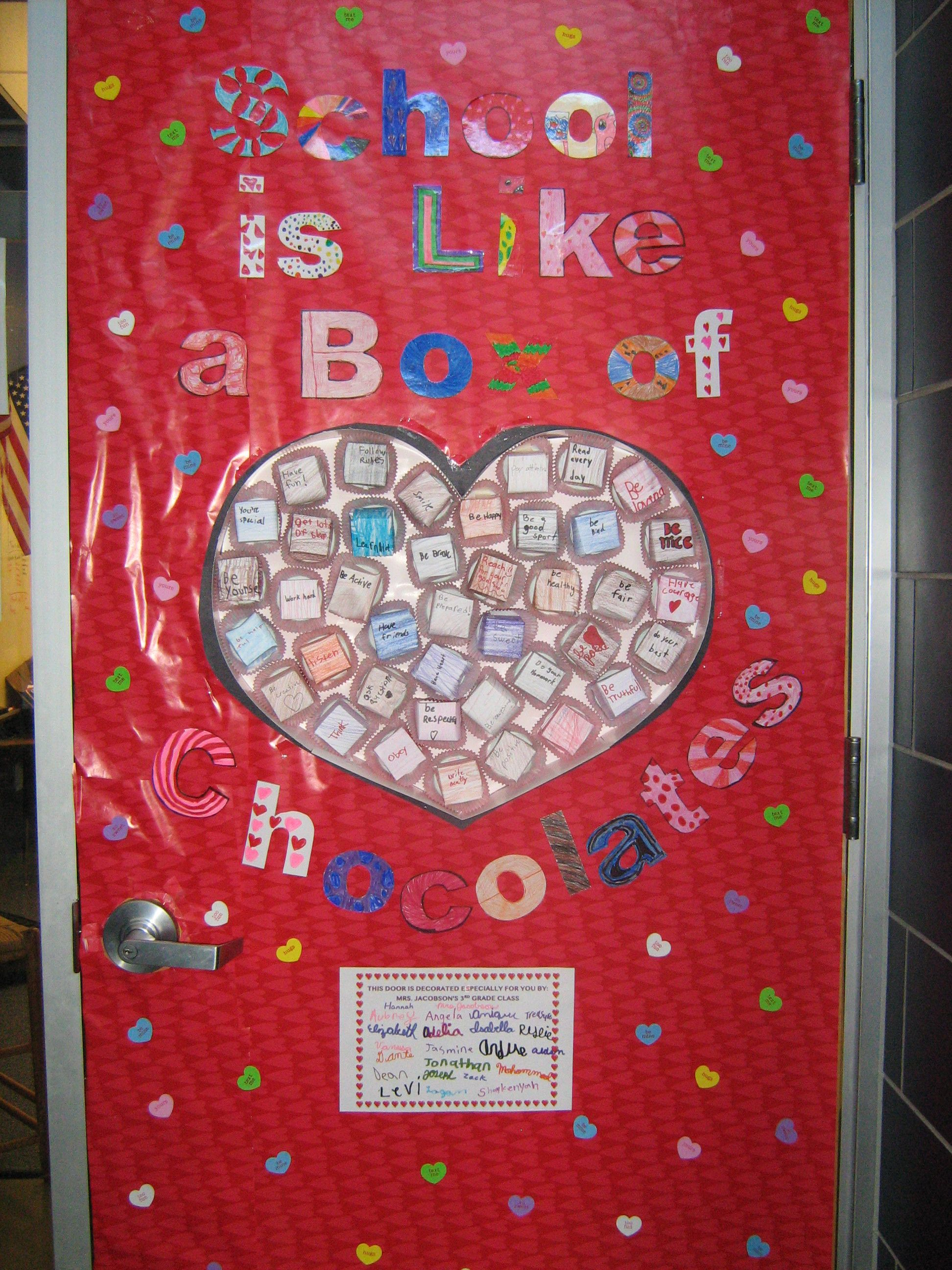 Classroom Door Decoration Ideas For Valentines Day : Quot school is like a box of chocolates valentine s door