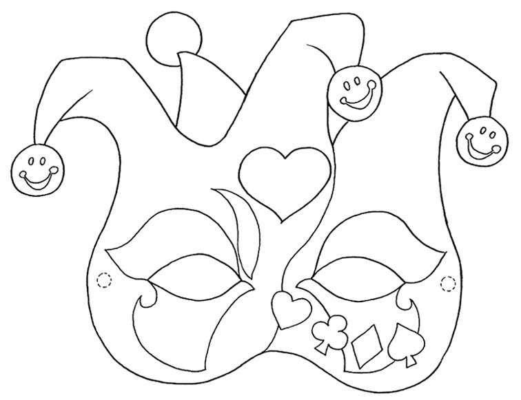 Le maschere di Carnevale da stampare e colorare sono un