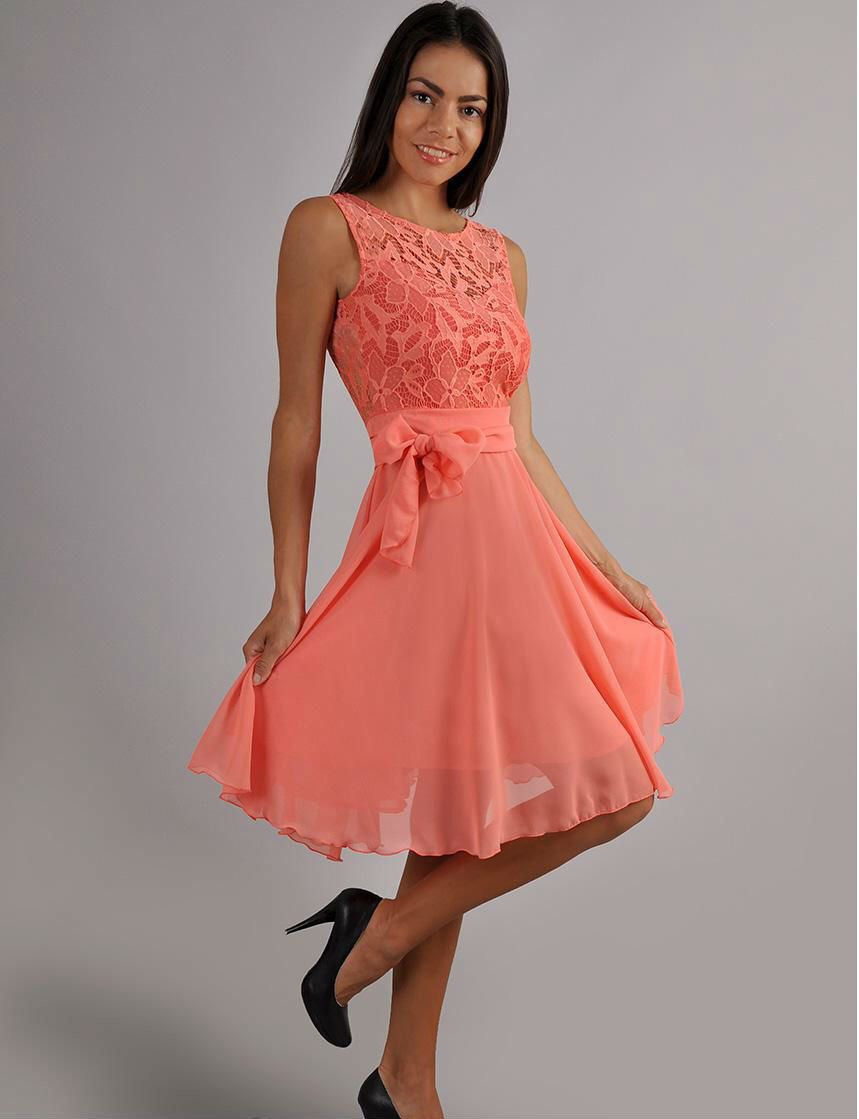 Coral chiffon dress evening dress cute dress bridesmaid sleeveless dress lace by dioriss on - Festliche kleider koralle ...