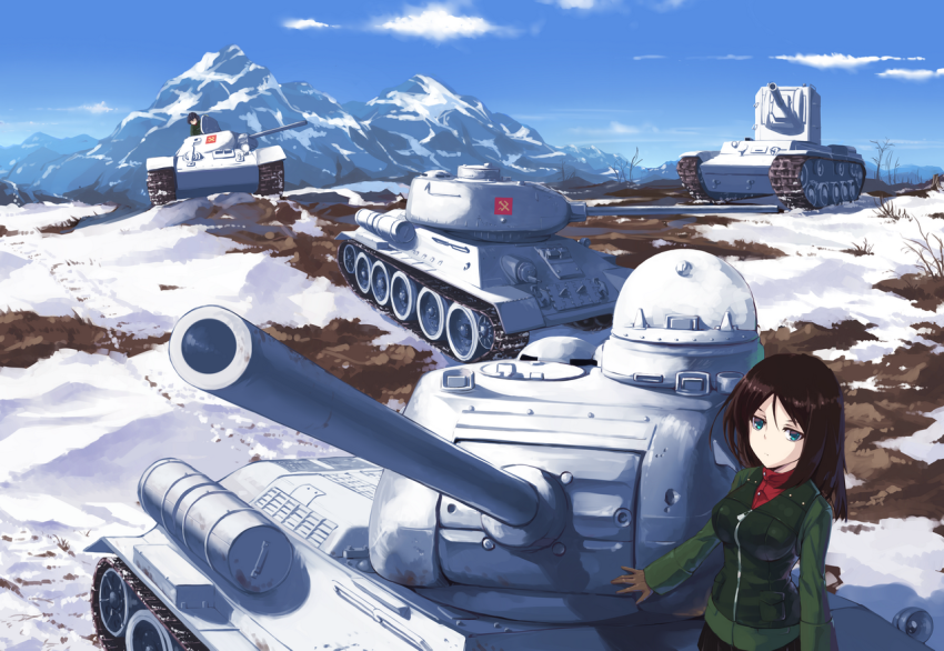 2girls Blue Eyes Breasts Brown Hair Frown Girls Und Panzer Highres Long Hair Military Military Uniform Military Vehicle Mul Anime Tank Anime Military Snow Girl