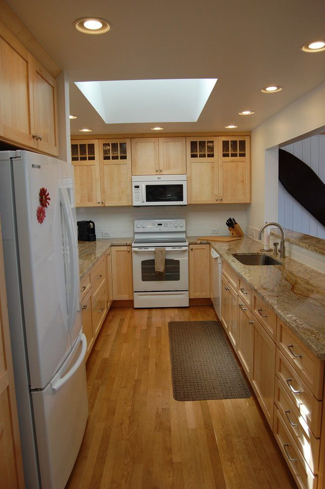 maple cabinets white appliances kitchen craftsman with ...