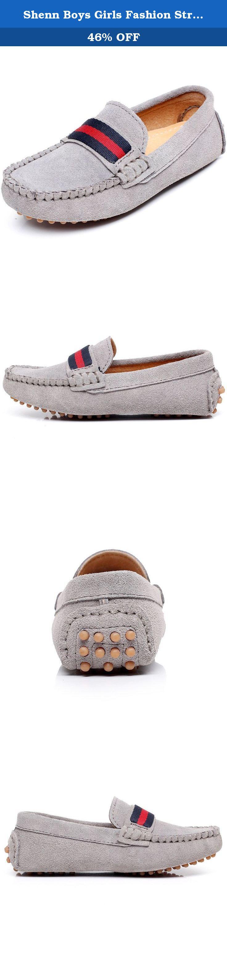 797c4fbc1df Shenn Boys Girls Fashion Strap Slip-On Grey Suede Leather Loafer Flats 2998  US3.