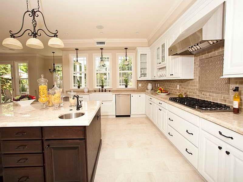 Pin By Beckie Parker On White Cabinets Stone Floors Trendy Kitchen Backsplash Kitchen Backsplash Designs Trendy Kitchen Tile