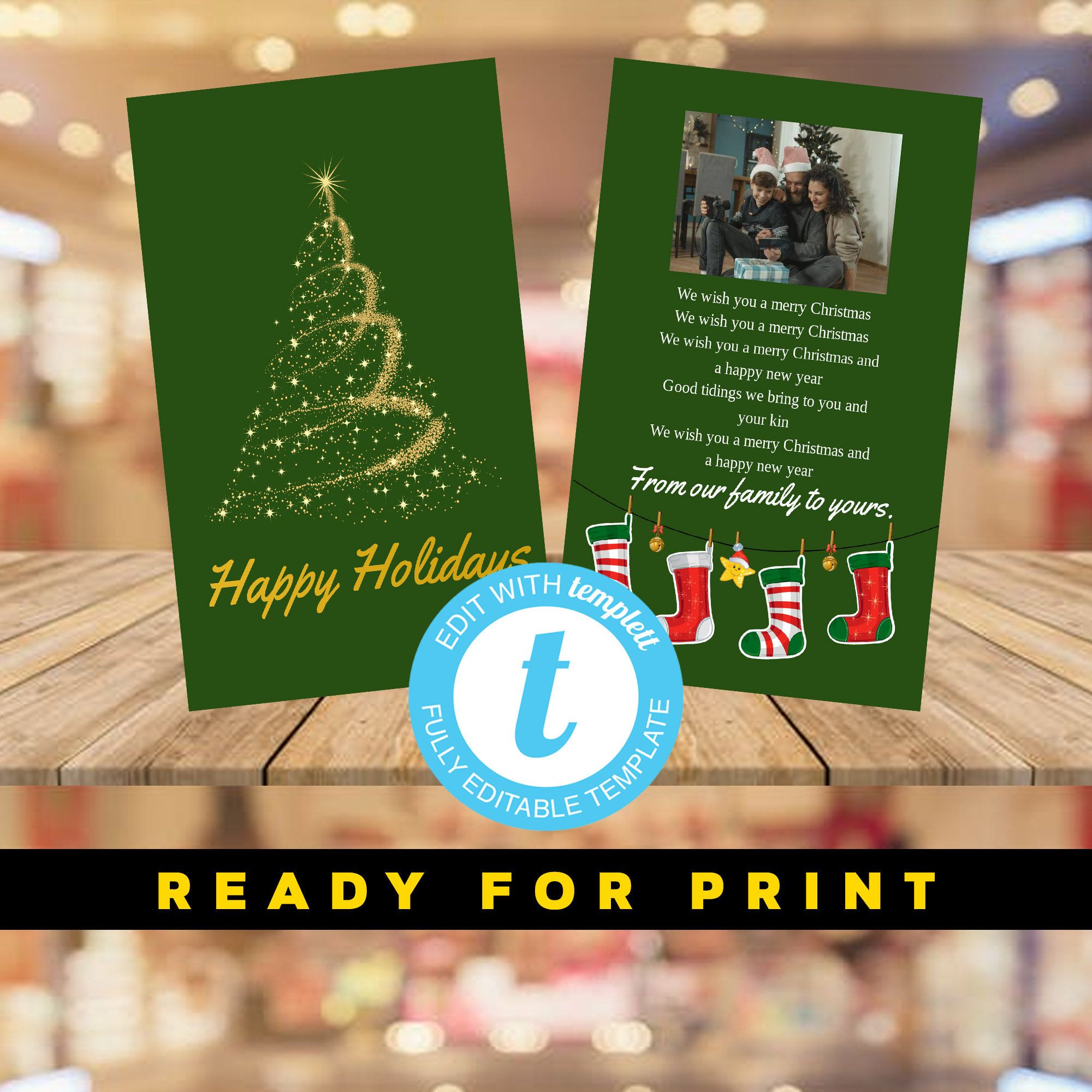 Printable Holiday Card Merry Christmas Happy Holidays And Etsy Printable Holiday Card Holiday Cards Christian Cards