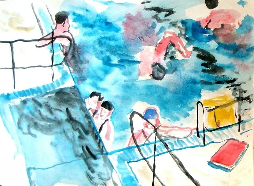 Did Some Drawing At The Swimming Pool Today Illustration