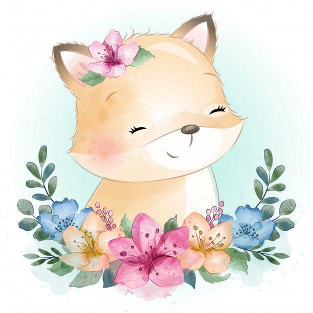 Cute Little Foxy Portrait Baby Animal Painting Baby Animal Drawings Cute Drawings