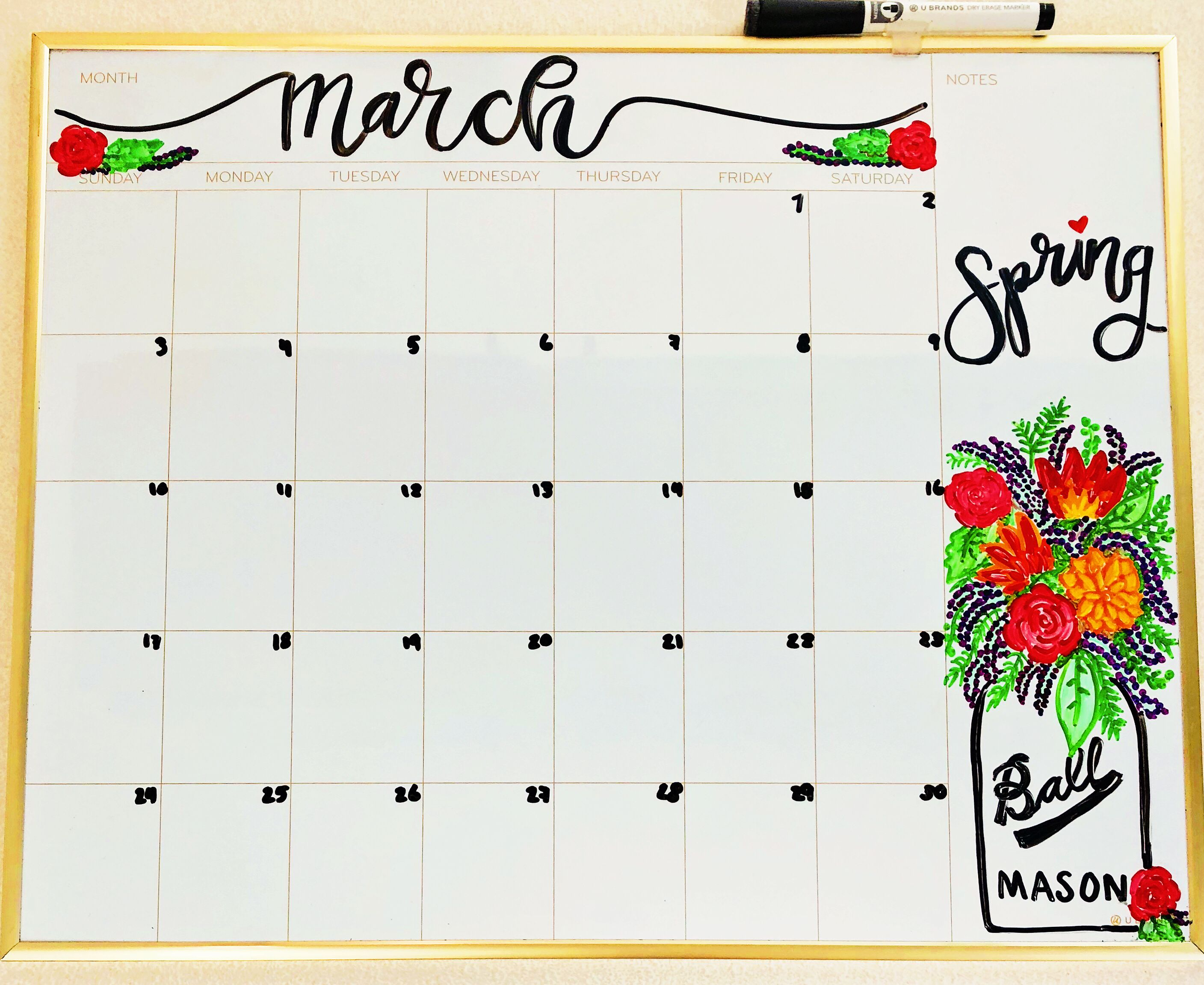 March Whiteboard Calendar Spring Calendar Spring Whiteboard