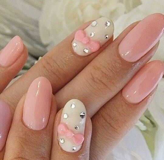 Pink dotted bow nails