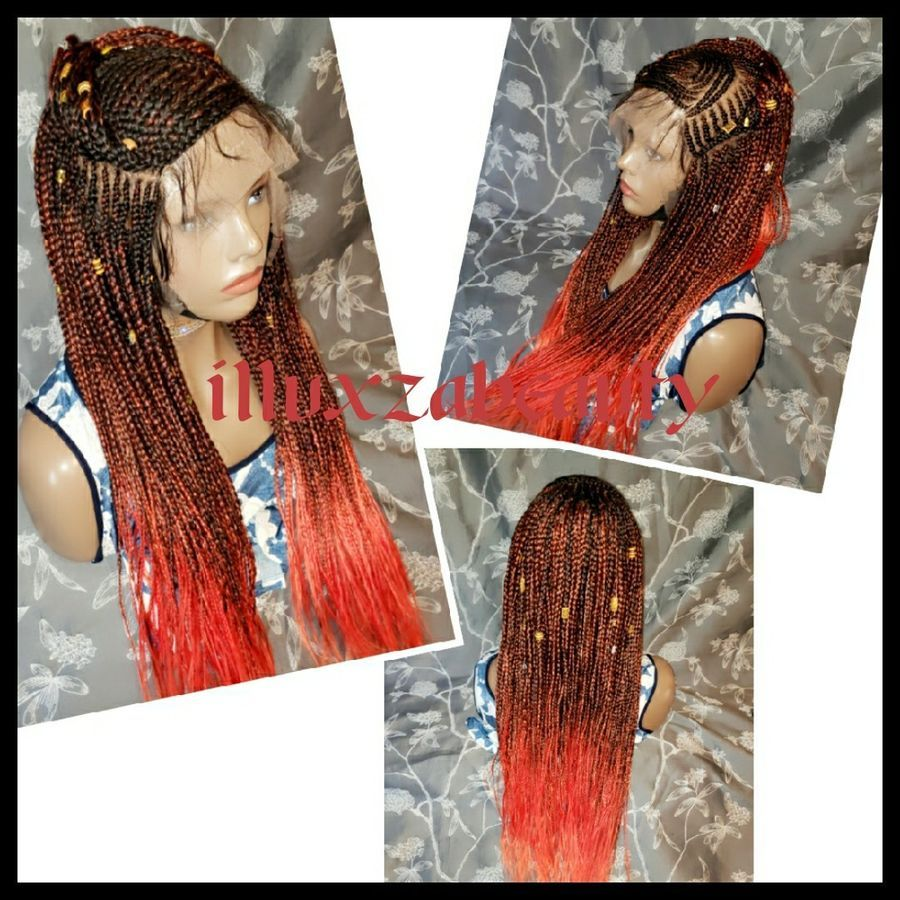 "Hot cornrow Braided Wig 13""x 6"" Color 1b/ Red 25"" to 27"""