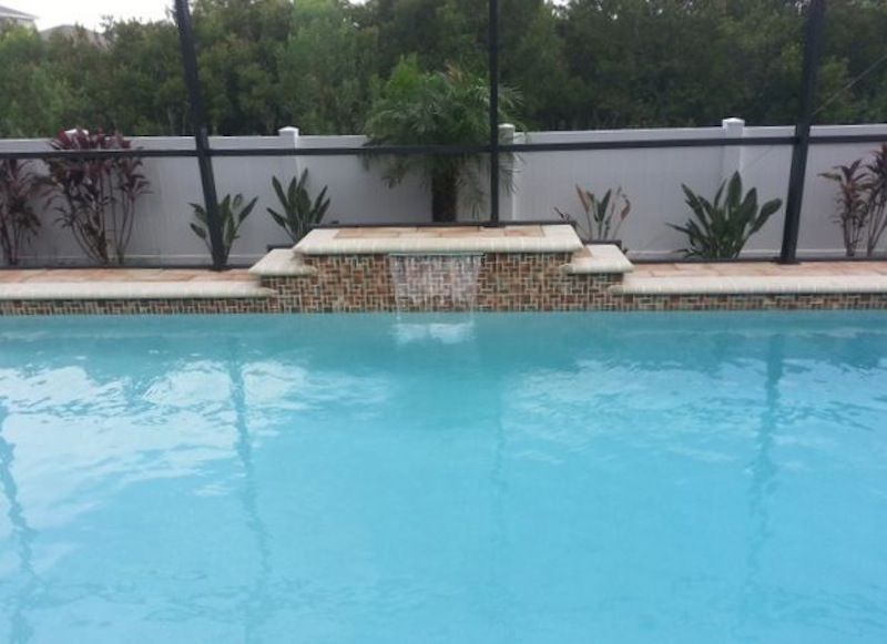 Water feature raised sheer descent waterfall pool - Swimming pool water feature ideas ...