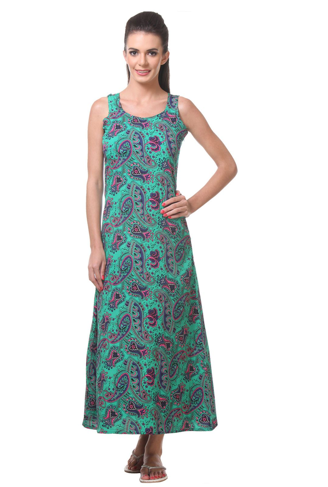 Tweens green printed short night dress for womens green top green