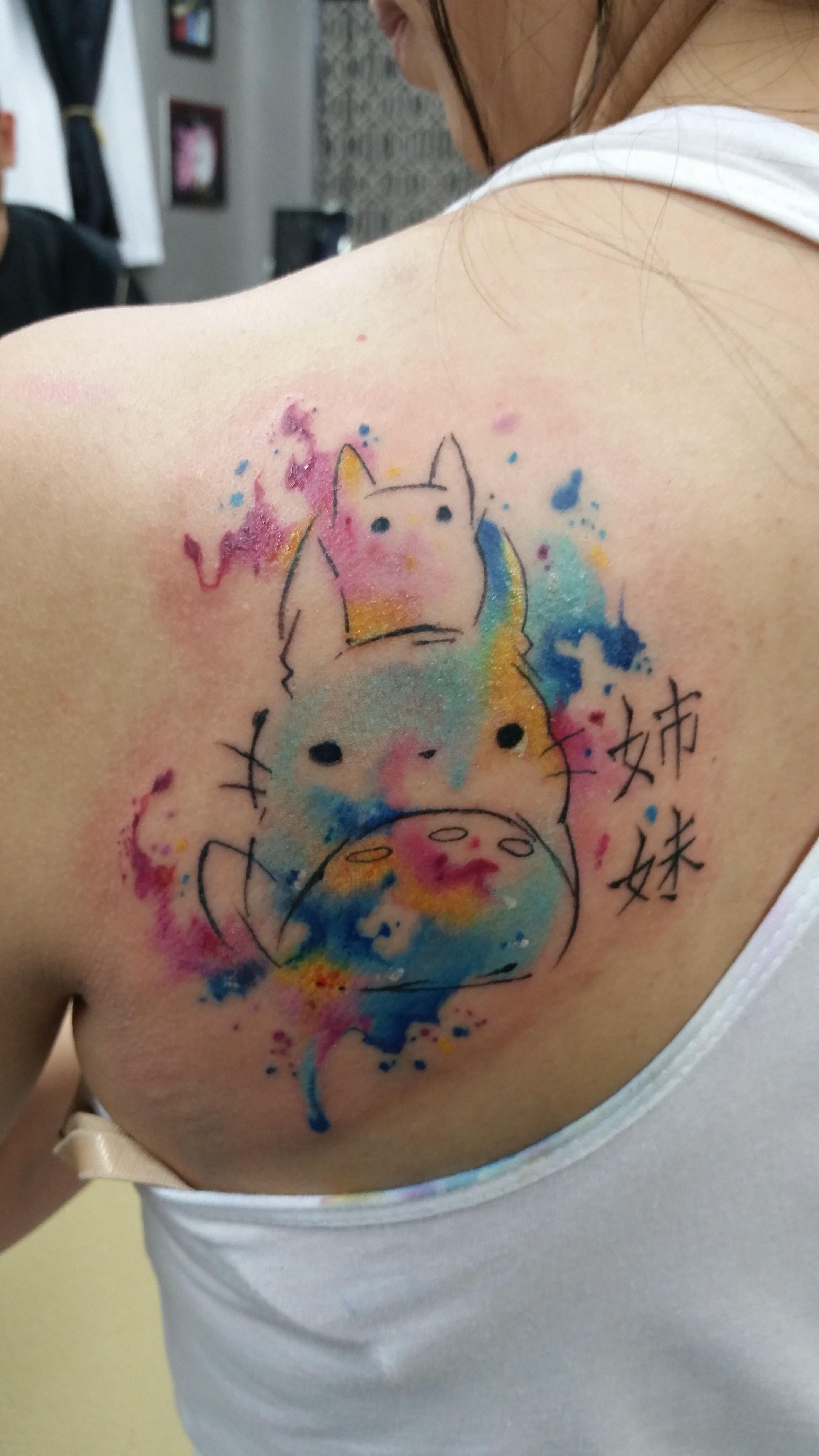 Totoro Sister Tattoo, Moses Veliz, Gold Dust Tattoo ... Totoro Thigh Tattoo