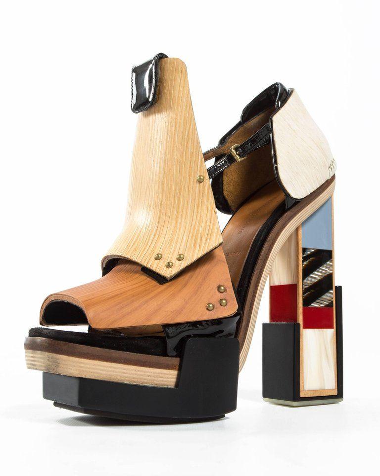 145ec685d7a Beige Balenciaga by Nicolas Ghesquière mixed media wooden block heels