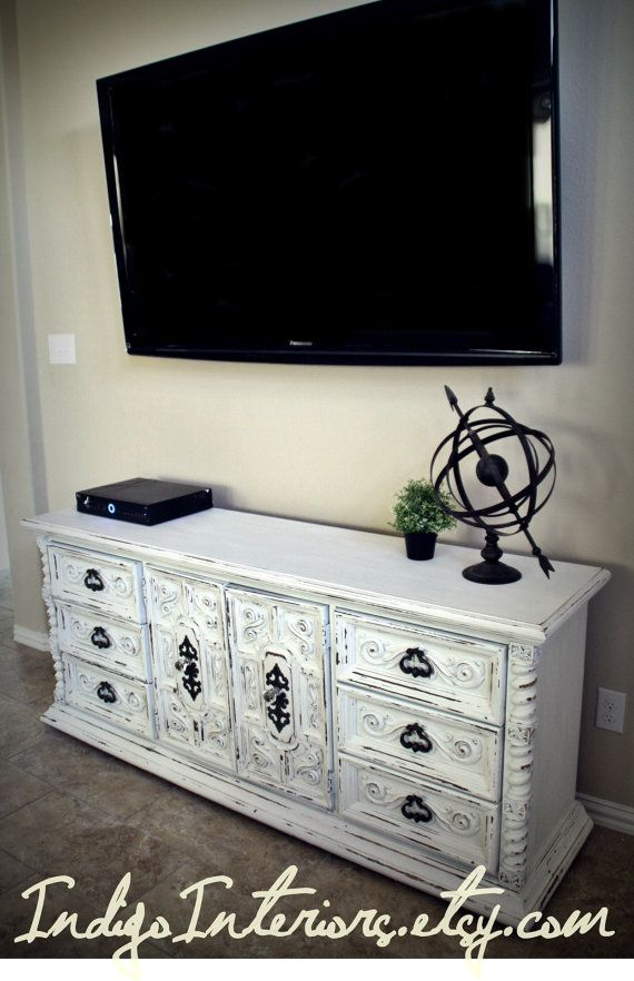 Vintage Shabby Chic White Dresser Buffet Changing Table Tv