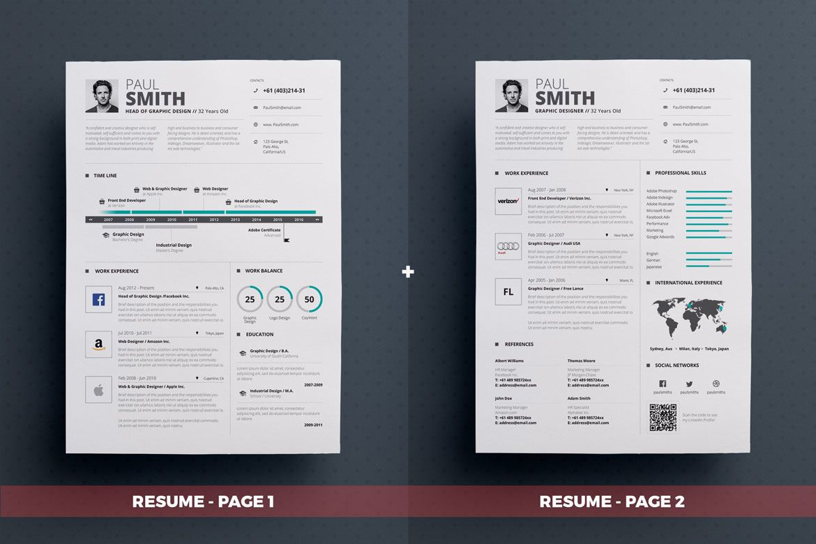 Envato Resume Templates Download Infographic Resume Cv Volume 5 Graphic Templates