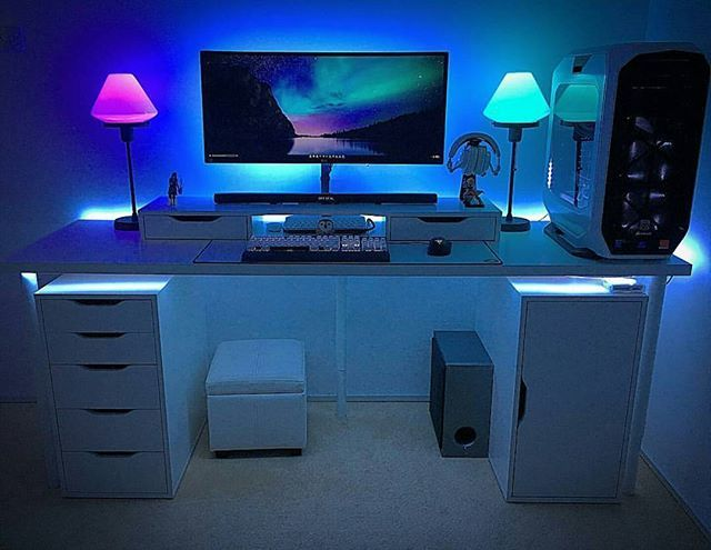 monitors amazing desk l setup dual for with glass battle red black computer station shaped pin gaming desks gamers chair