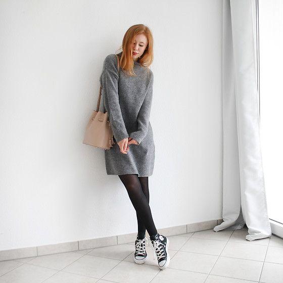 sweater dress, tights, chucks | Dress