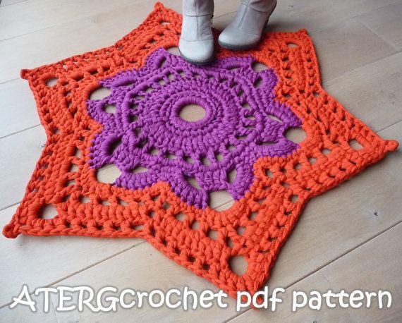Crochet Pattern Star Rug By Atergcrochet Xl Crochet Crochet