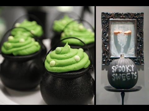 HALLOWEEN PARTY IDEAS - Cauldron Cupcakes, Candy Apples, Chalkboard - how to make halloween decorations youtube