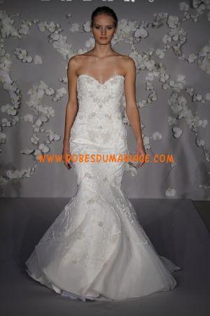 Lazaro sans bretelle robe de mariée bustier sirène col en cœur organza Style LZ3003