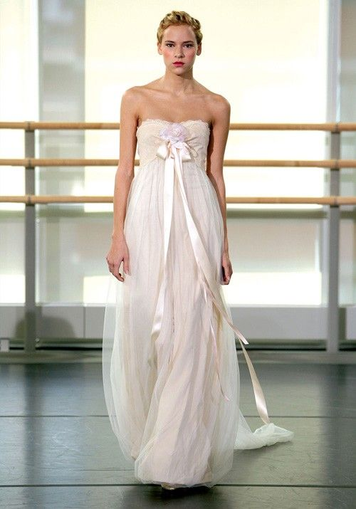 Claire Pettibone - larissa - great for maternity gown - bridal - flowy - strapless dress