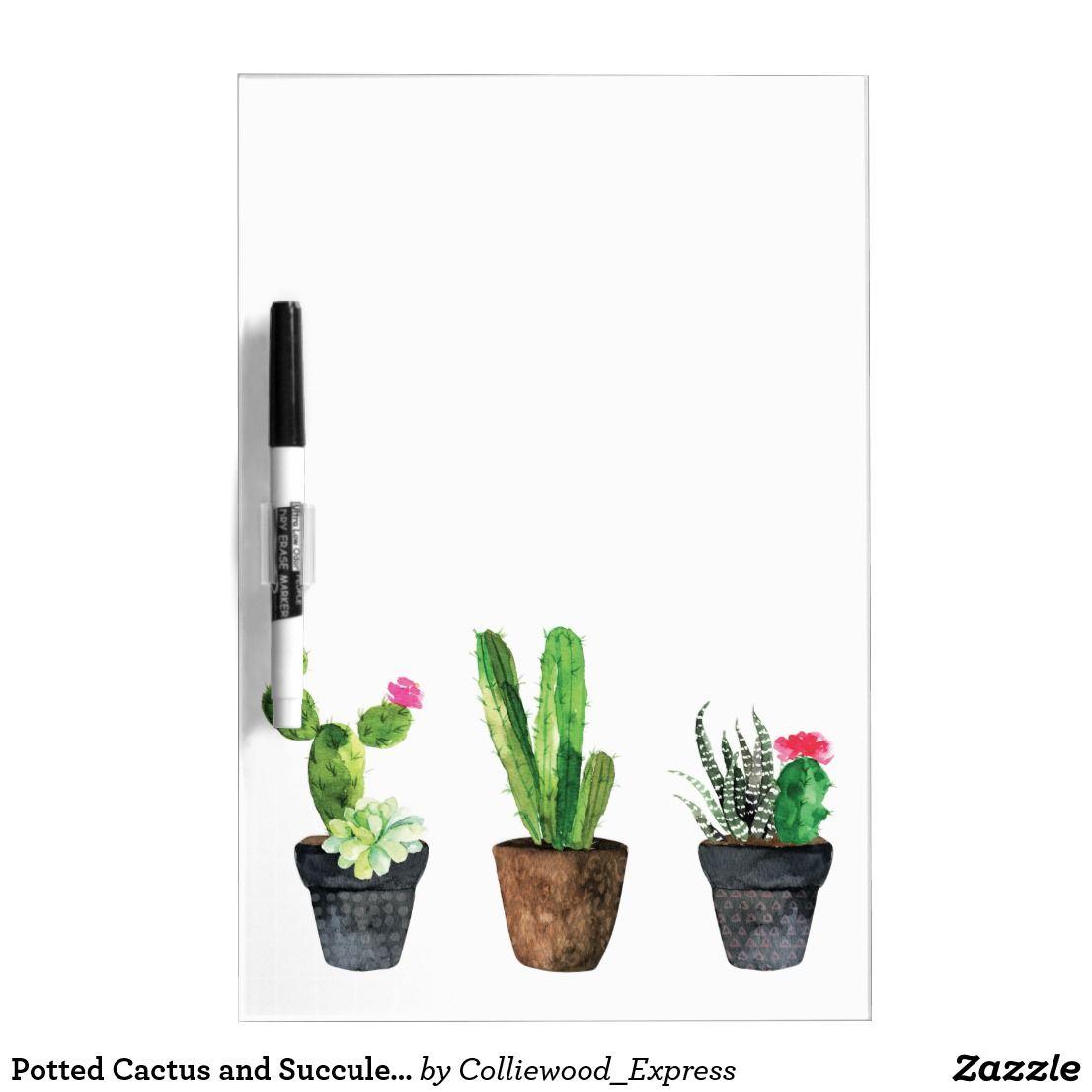 Potted Cactus And Succulents Dry Erase Board Zazzle Com Rustic Designs Cacti Succulents Succulents Dry Erase Board