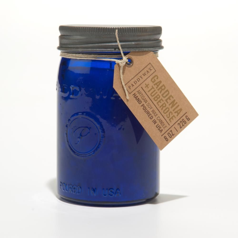 Gardenia Tuberose Cobalt Relish Jar Candle By Paddywax