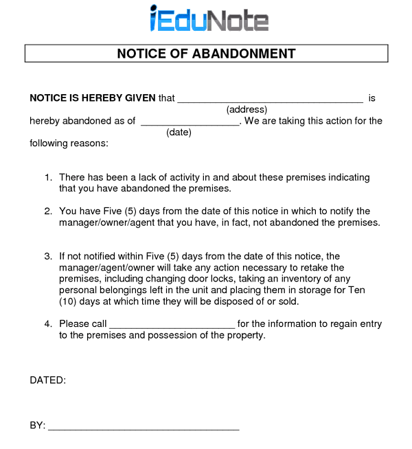 Notice Of Abandonment In Marine And Trade Insurance Abandoned