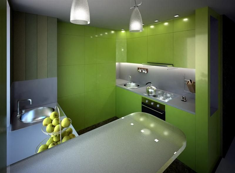 Dapur Rumah Minimalis Modern Warna Hijau Medium