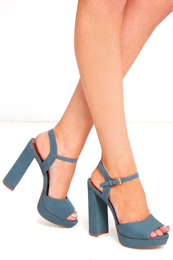 6b58154aace Steve Madden Kierra Light Blue Nubuck Leather Platform Heels ...