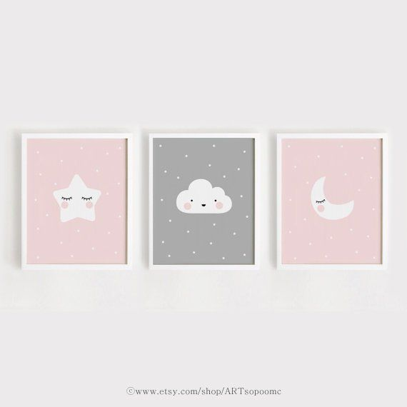 Star Cloud Moon nursery decor Printable Nursery Art Set of 3 Poster