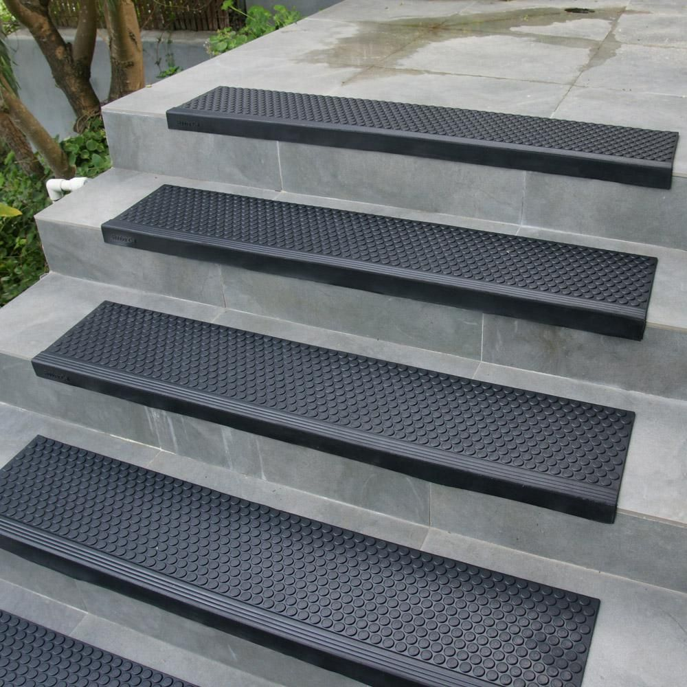 Rubber Cal Coin Grip Commercial 10 In X 36 In Rubber Step Mat 6   Home Depot Outdoor Steps   Anti Slip Stair Tread   Deck Railing   Pressure Treated   Wrought Iron Railings   Stair Riser