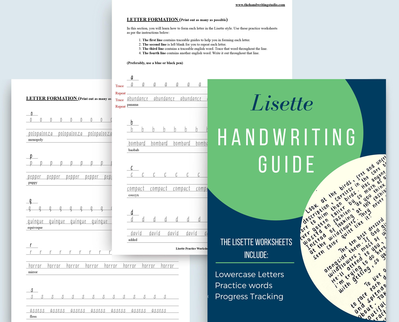 Lisette Handwriting Practice Sheets Printable Lowercase