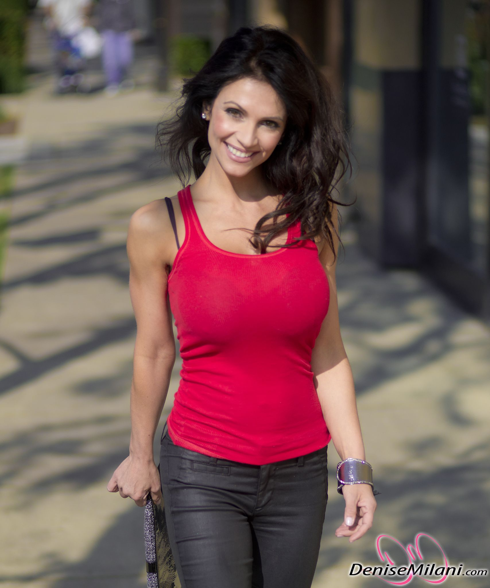 Denise Milani Preview Of Her Set Red Tank Candids