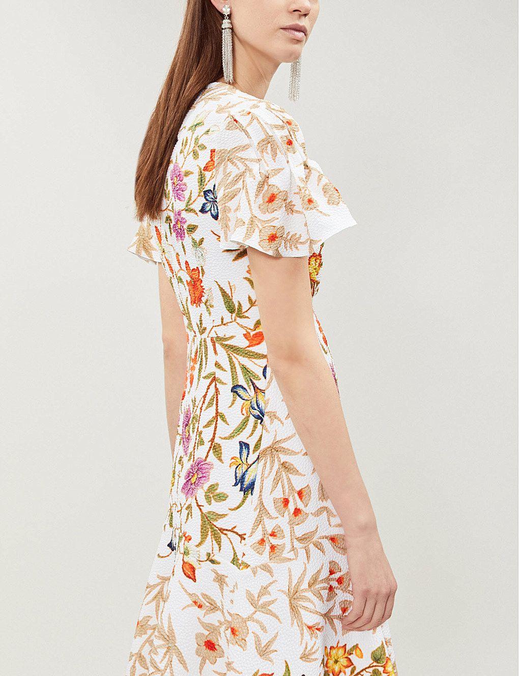 Floral Crepe Print Style Mini In Dress Ruffled 2019 dUqEgd