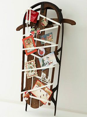 10 Christmas Card Display Ideas Holiday greeting cards, Sled and